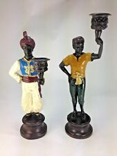 Art Deco Vintage Two Baroque Nubian Blackamoor Statue Candle Holders Bronze