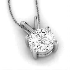NATURAL ROUND DIAMOND SOLITAIRE PENDANT NECKLACE 14K WHITE GOLD 0.5 CARAT