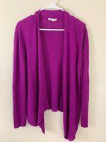 Eileen Fisher Organic Linen Magenta Purple Open Front Cardigan Size Large