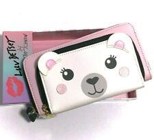 Betsey Johnson Bag Wallet Polar Bear Phone Clutch Pink & White NWT