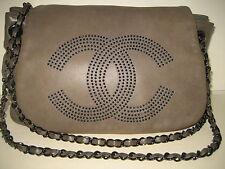 CHANEL Grey Lambskin Leather CC Timeless Accordion Flap Shoulder Bag Handbag