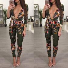 UK Womens Long Sleeve Skinny Jumpsuit Playsuit Lady Casual Slim Tracksuit Romper