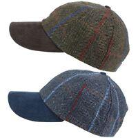 Cap Baseball Hat Wool Tweed Hawkins Adjustable Peak BLUE BROWN