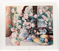 Vintage PAULA VAUGHAN Painting Flowers Roses Impressionism Lithograph SIGNED #79