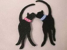 Kissing Black Cat Pair Iron On Applique Patch