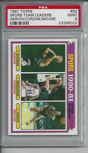 1981 Topps Basketball #62 San Antonio Spurs Team Leaders - PSA 9