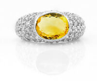 925 Sterling Silver Ring Yellow Citrine Natural Cocktail Gemstone