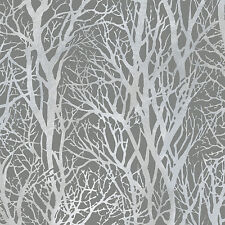 Life 3 Silver and Grey Woodland Trees Wallpaper Paste the Wall 30094-3
