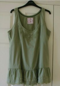 Fat Face lace detail top in sage green - size 16 would also fit size 14