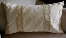 NEW PAIR Hamptons style CREAM & GOLD BROCADE SELF FRINGED Oblong Cushion covers