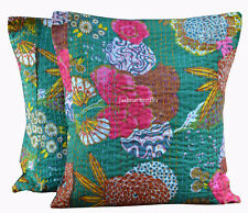 Indian Vintage Cushion Cover Set of 2 Pillow Cotton Kantha Handmade Home Decoru