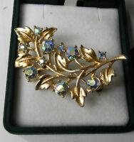 British 1950' Vintage Aurora Borealis Rhinestones Gold Filigree Flower Brooch.