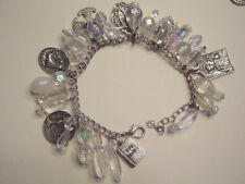 """Holy Bauble 7-1/2"""" Inspirational Bead Bracelet with Religious Charms QVC CLEAR"""