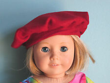 RED WOOL TAM HAT BERET fits American Girl - Great with Jeans, Dresses, Costumes!
