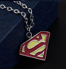 "Superman Pendant Necklace 20"" Chain Super Man Logo Silver Tone Yellow Red S SML"