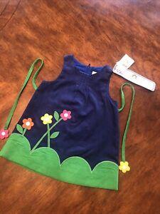 NWT Florence Eiseman Toddler Girl Blue Corduroy Jumper Dress Flowers 12M