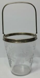 ANTIQUE HAWKES SIGNED etched GLASS ENGRAVED ICE BUCKET