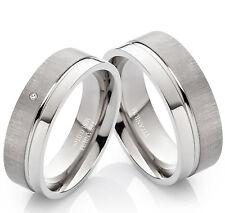 2 Verlobungsringe Eheringe aus Titan mit echtem Diamant Ringgravur TB007
