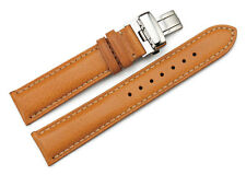 22mm Cow Leather Watch Band Strap Deployment Clasp Bracelet Chrono Belt Brown