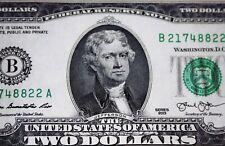 5 NEW FRESH $2.00 BILLS, GREAT GIFT FOR KIDS GRANDKIDS BIRTHDAYS HOLIDAYS OR YOU