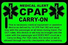 Hi-Viz Green Carry-On CPAP  Bag Tag - TSA - CPAP BiPAP APNEA POC