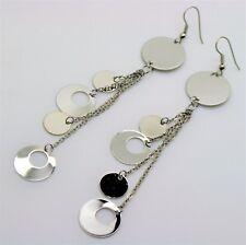 Simple Circle Shape  Lightweight silver plated Long Dangle Fashion Earrings 3-16