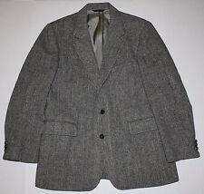 Vintage Harris Tweed Made in USA Black White Tan Blue Herringbone Blazer 38R