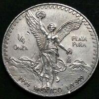1995 Mexico 1/4 Oz .999 Fine Silver Onza Libertad Liberty Eagle Plata Coin