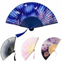 e Chinese Style Bamboo Folding Hand Fan Wedding Party Flower Pattern Vintage