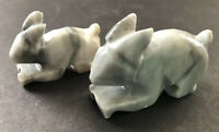 Two Carved Miniature Bunny Rabbit Figurines Stone Marble Alabaster Grey White