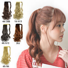 Clip In Pony Tail Synthetic Hair Extension Curly Wave Wrap On Hairpiece 45cmLong