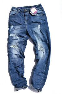 Monday Damen Jeans Baggy Boyfriend blau Hose Stretch Sommer Glitzer Risse 1085