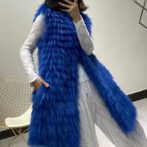 Real Raccoon Fur Vest Coats Women's Fashion Soft Fur Waistcoat Gilets Outwear