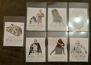 2015 General Mills The Force Awakens Complete Set of 7 Glow-in-the-Dark Stickers