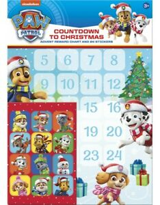 PAW PATROL Countdown to Christmas Advent Reward Chart and 24 Stickers