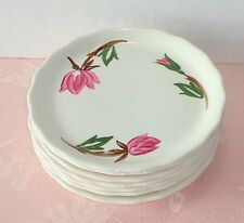 Canonsburg Pottery AMERICAN BEAUTY 8 Plates Bread Dessert Hand Painted Pink Rose