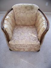 Antique Wooden Arm Chair with an original covering still on it Really Good Bones