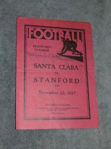 ORIGINAL NOV. 12, 1927 STANFORD VS SANTA CLARA FOOTBALL PROGRAM