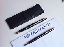 Waterman Set Hemisphere Laque schwarz GC Füller + Kugelschreiber + Lederetui