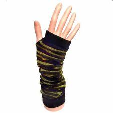 Long Fingerless Gloves Black Gold Sparkle Stripes - 70's 80's Party - Winter