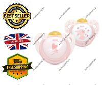 NUK Rose & Blue Baby Dummies 0-6 Months BPA-Free Latex Soothers Pink 2 Count UK