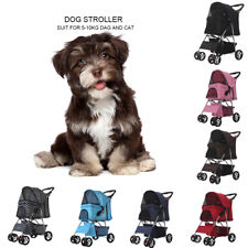 4 Wheels Pet Stroller Cat Dog Cage Stroller Folding Portable Jog Travel Carrier