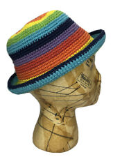 Hand Made Crocheted Bucket Hat Rainbow Multicolor Kids Young Adult Size Small