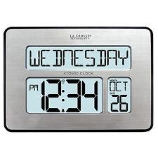 513-1419BL La Crosse Technology Atomic Digital Wall Clock with IN Temp Backlight