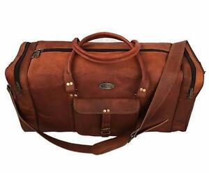 Men's Natural Grain Leather Duffel Gym Bag Weekend Luggage AirCabin Handbag