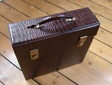 "RECORD STORAGE CASE 12"" shallow (for LPs) nice brown alligator vinyl - with keys"