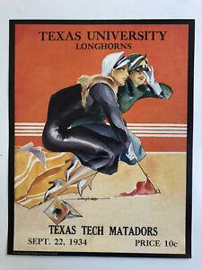 """1934 TEXAS LONGHORNS vs TEXAS TECH RED RAIDERS 11x14"""" Football Program Poster"""