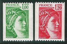 1978 France 1981A et 1981B Sabine variété roulette paire sans charnière ★★