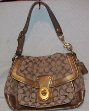 Coach Legacy Ali Signature Jacquard &Bronze Leather Tan/Gold Handbag K0668-20340