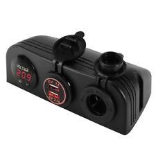 Dual USB Charger + 12V Cigarette Lighter Socket + Volt Meter Panel Mount MA1271